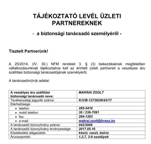 Tájékoztató levél Üzleti Partnerek részére biztonsági tanácsadó személyérõl